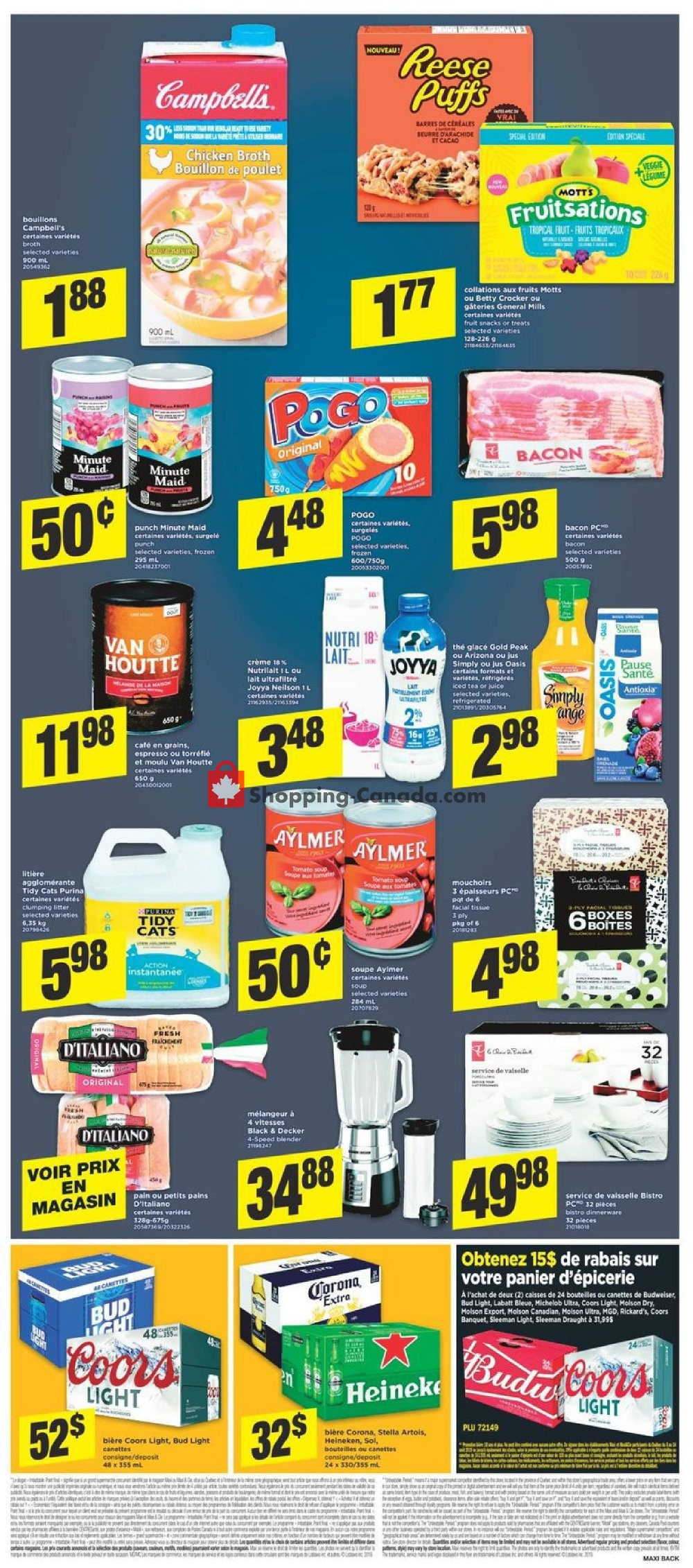 Flyer Maxi Canada - from Thursday August 8, 2019 to Wednesday August 14, 2019
