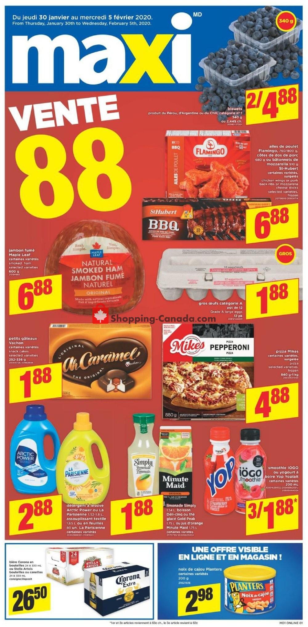 Flyer Maxi Canada - from Thursday January 30, 2020 to Wednesday February 5, 2020