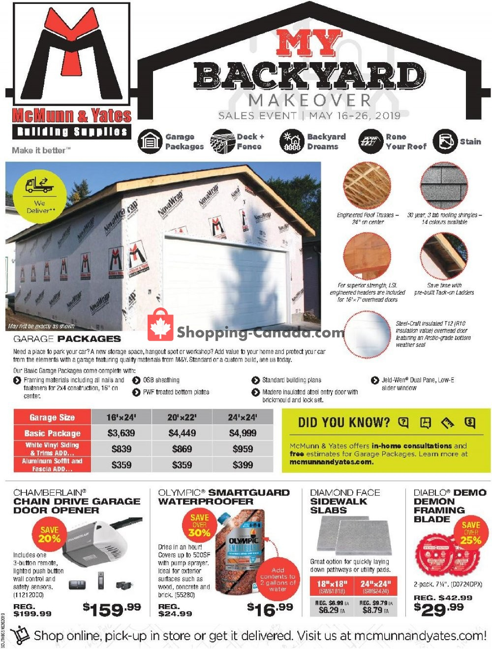 Flyer McMunn & Yates Canada - from Thursday May 16, 2019 to Sunday May 26, 2019