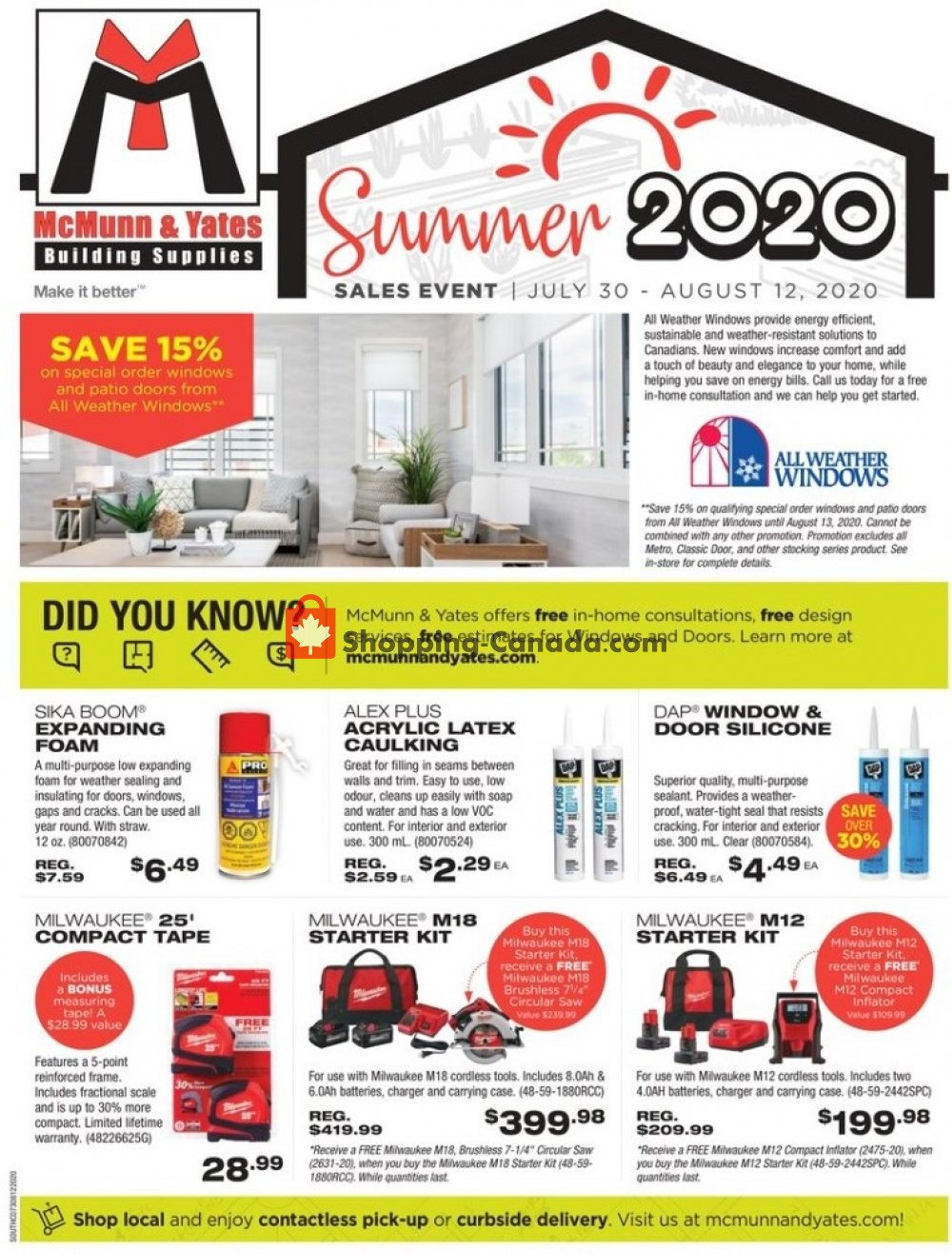 Flyer McMunn & Yates Canada - from Thursday July 30, 2020 to Wednesday August 12, 2020