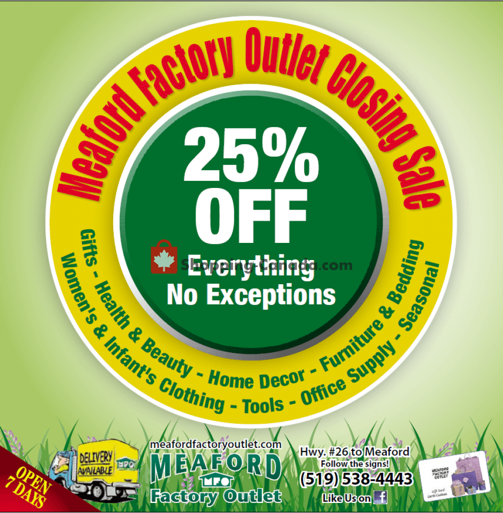 Flyer Meaford Factory Outlet Canada - from Wednesday July 1, 2020 to Wednesday September 30, 2020
