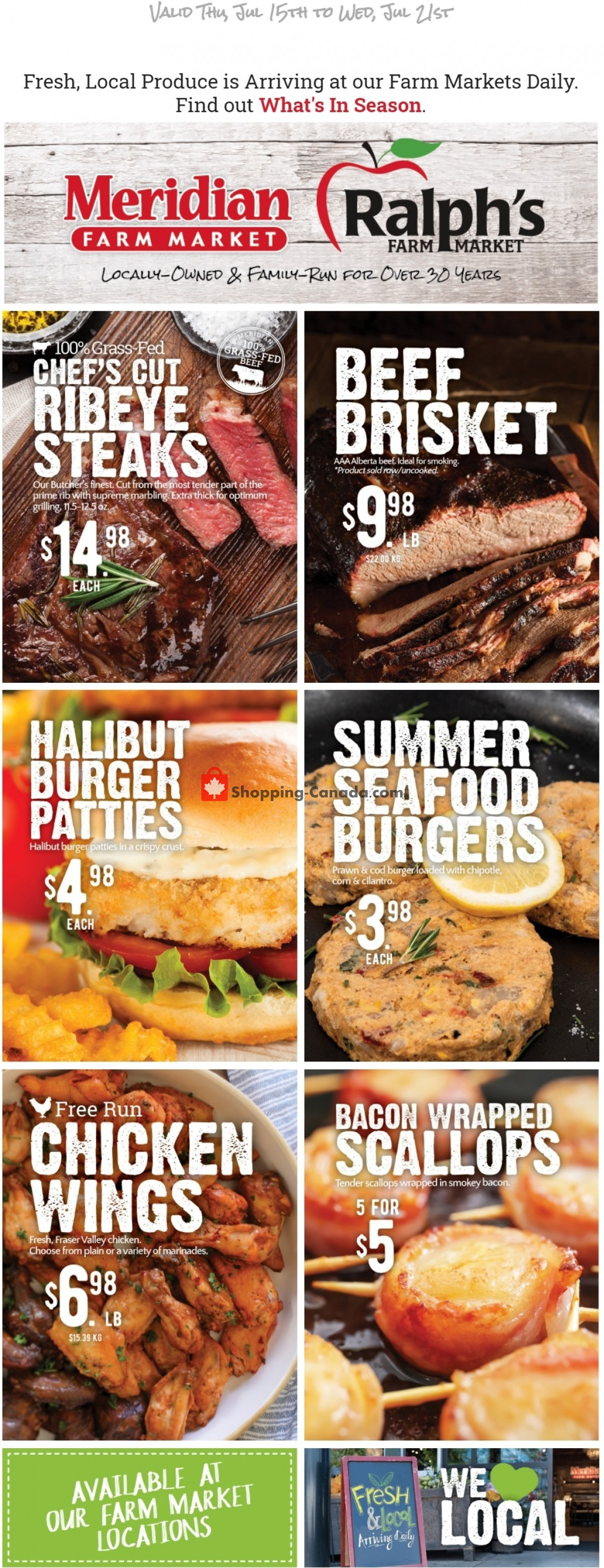 Flyer Meridian Meats & Meridian Farm Market Canada - from Thursday July 15, 2021 to Wednesday July 21, 2021