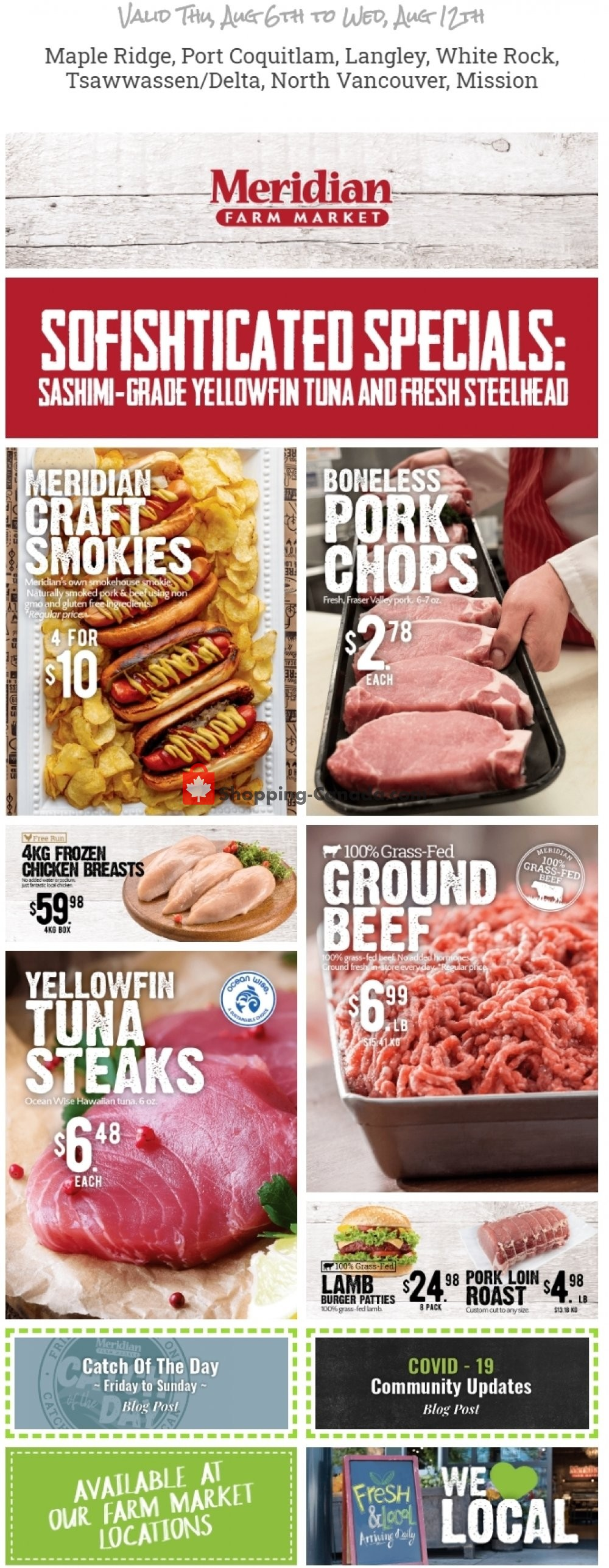 Flyer Meridian Meats & Meridian Farm Market Canada - from Thursday August 6, 2020 to Wednesday August 12, 2020