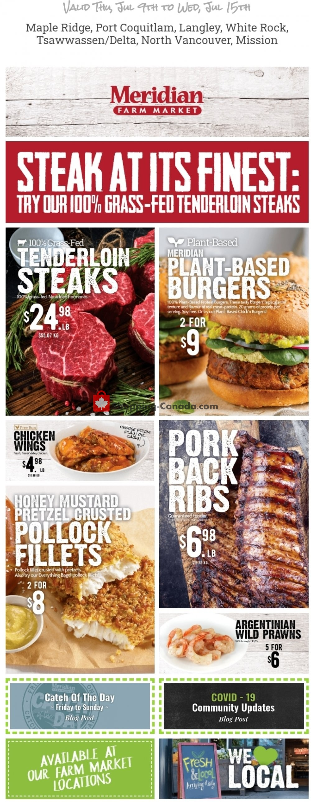 Flyer Meridian Meats & Meridian Farm Market Canada - from Thursday July 9, 2020 to Wednesday July 15, 2020