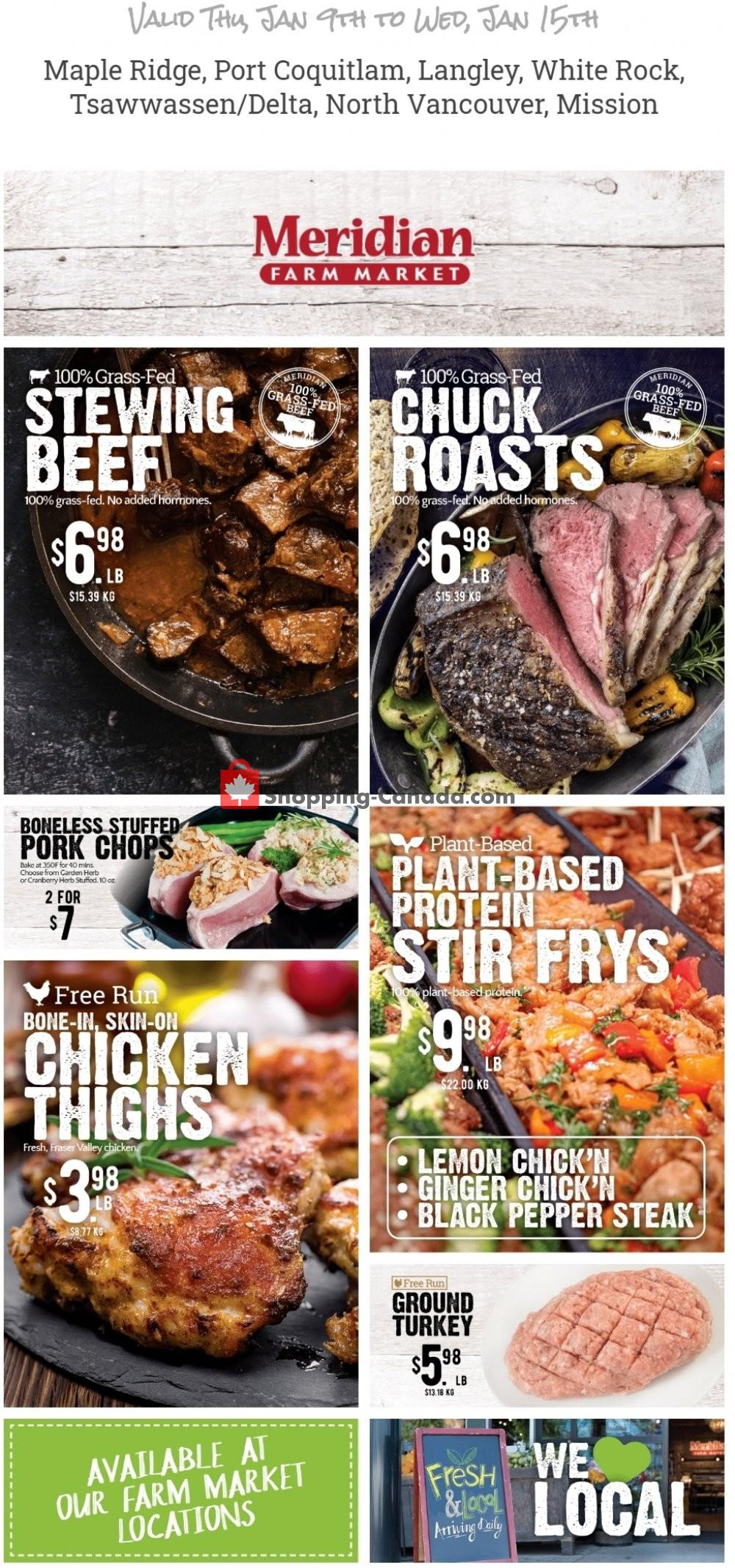 Flyer Meridian Meats & Meridian Farm Market Canada - from Thursday January 9, 2020 to Wednesday January 15, 2020