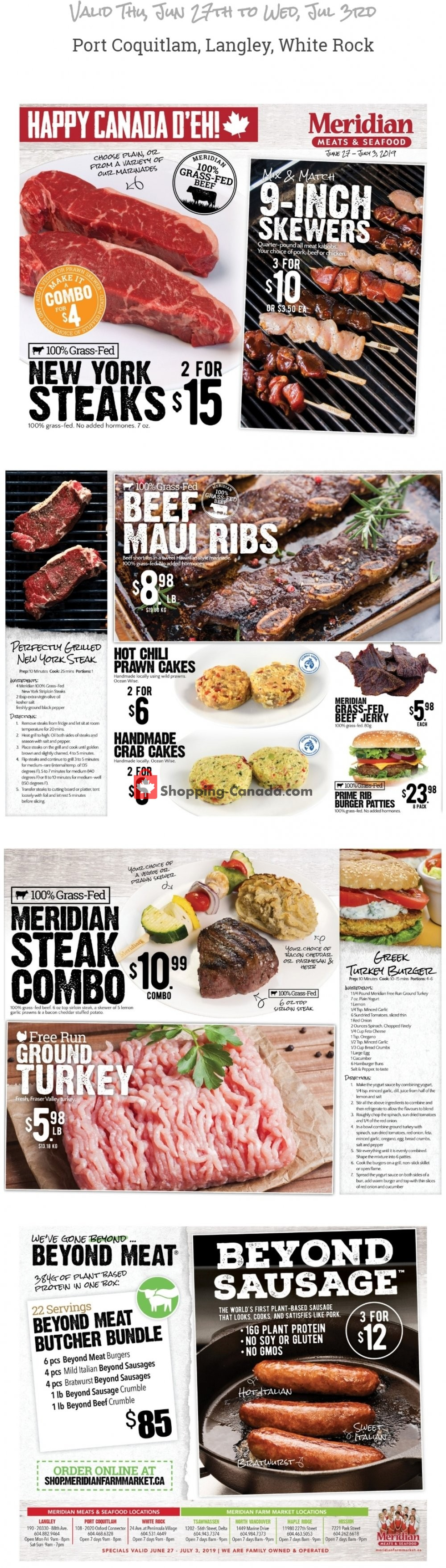 Flyer Meridian Meats & Meridian Farm Market Canada - from Thursday June 27, 2019 to Wednesday July 3, 2019