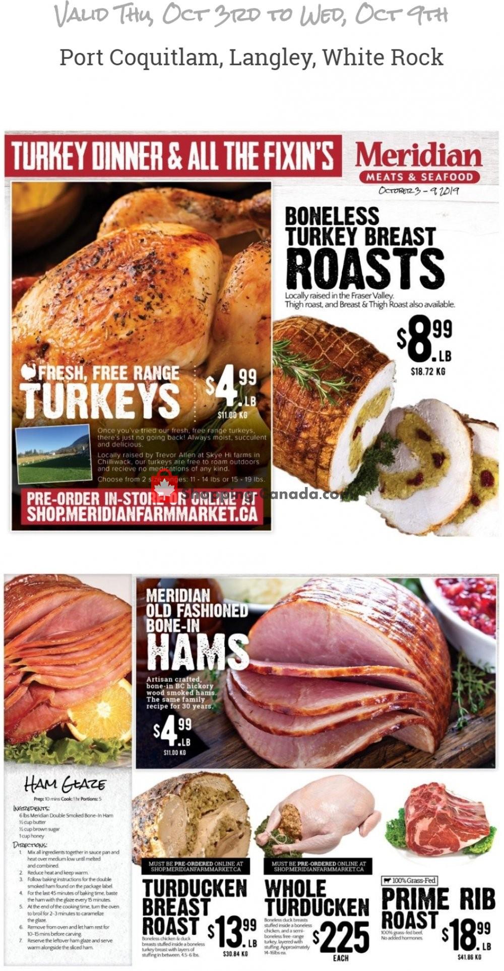 Flyer Meridian Meats & Meridian Farm Market Canada - from Thursday October 3, 2019 to Wednesday October 9, 2019