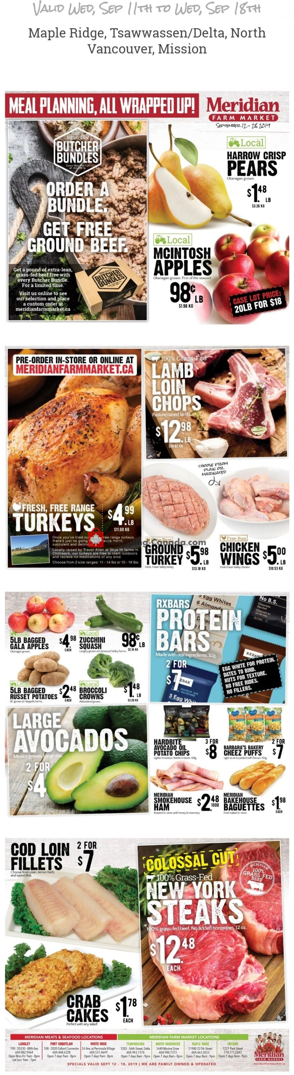 Flyer Meridian Meats & Meridian Farm Market Canada - from Thursday September 12, 2019 to Wednesday September 18, 2019