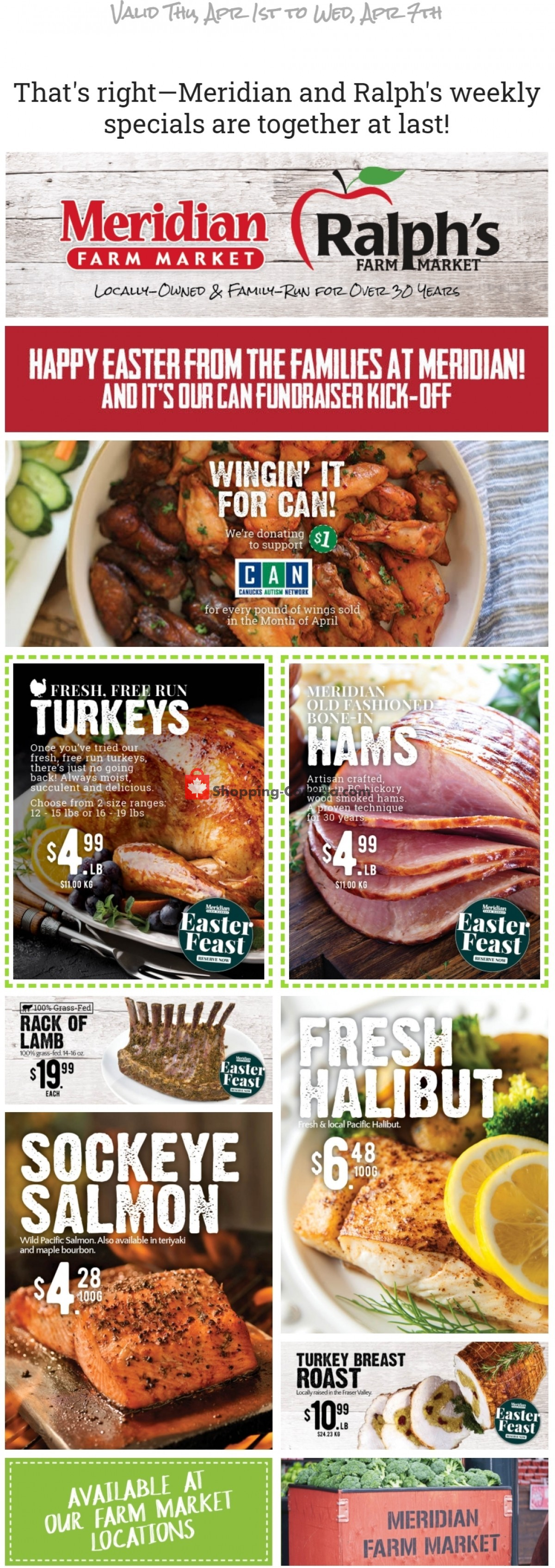 Flyer Meridian Meats & Meridian Farm Market Canada - from Thursday April 1, 2021 to Wednesday April 7, 2021