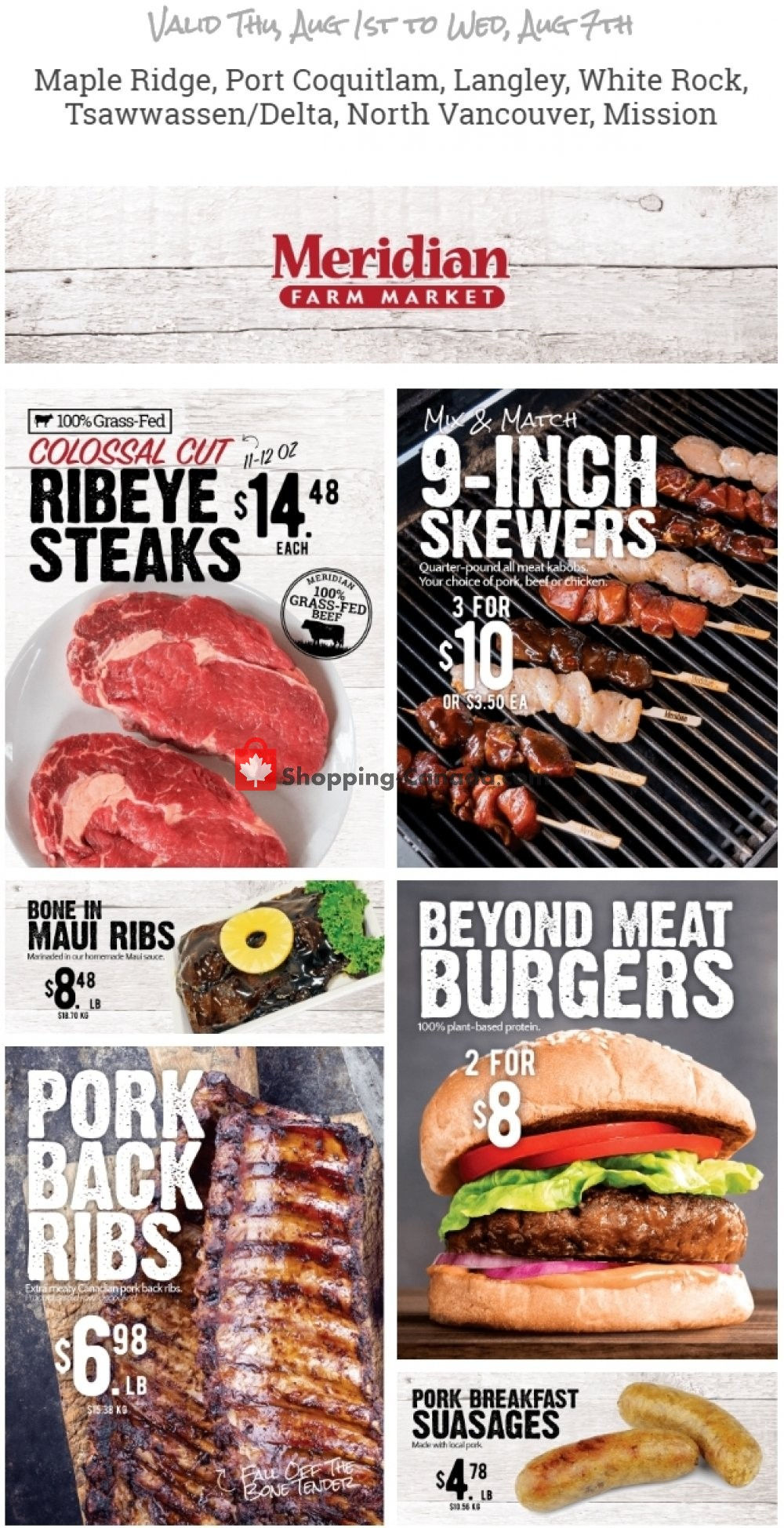 Flyer Meridian Meats & Meridian Farm Market Canada - from Thursday August 1, 2019 to Wednesday August 7, 2019