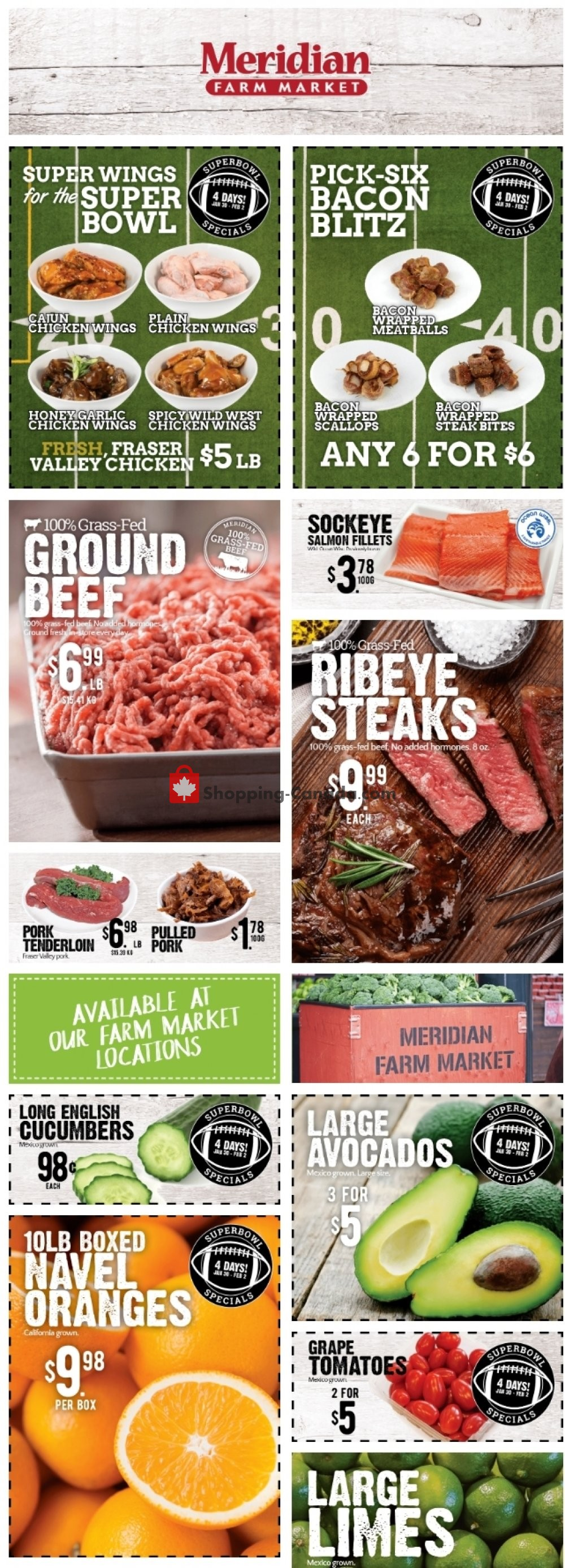 Flyer Meridian Meats & Meridian Farm Market Canada - from Thursday January 30, 2020 to Wednesday February 5, 2020