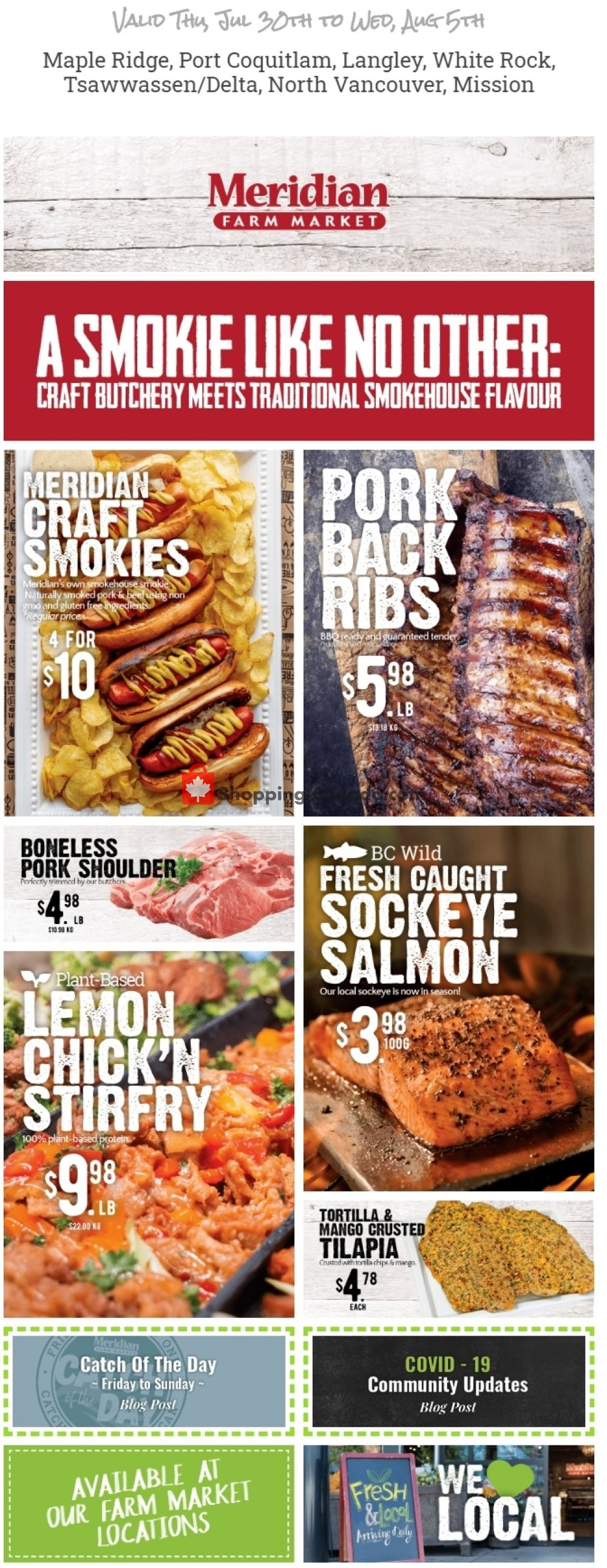 Flyer Meridian Meats & Meridian Farm Market Canada - from Thursday July 30, 2020 to Wednesday August 5, 2020