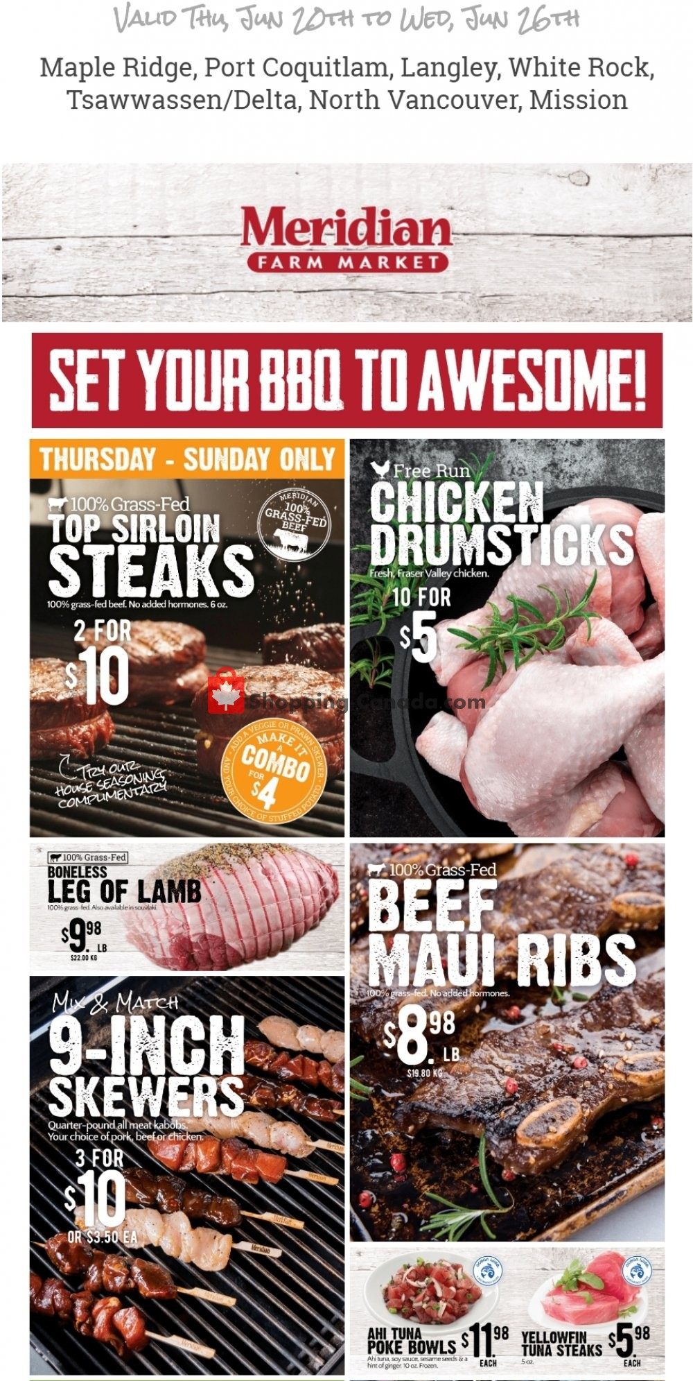 Flyer Meridian Meats & Meridian Farm Market Canada - from Thursday June 20, 2019 to Wednesday June 26, 2019