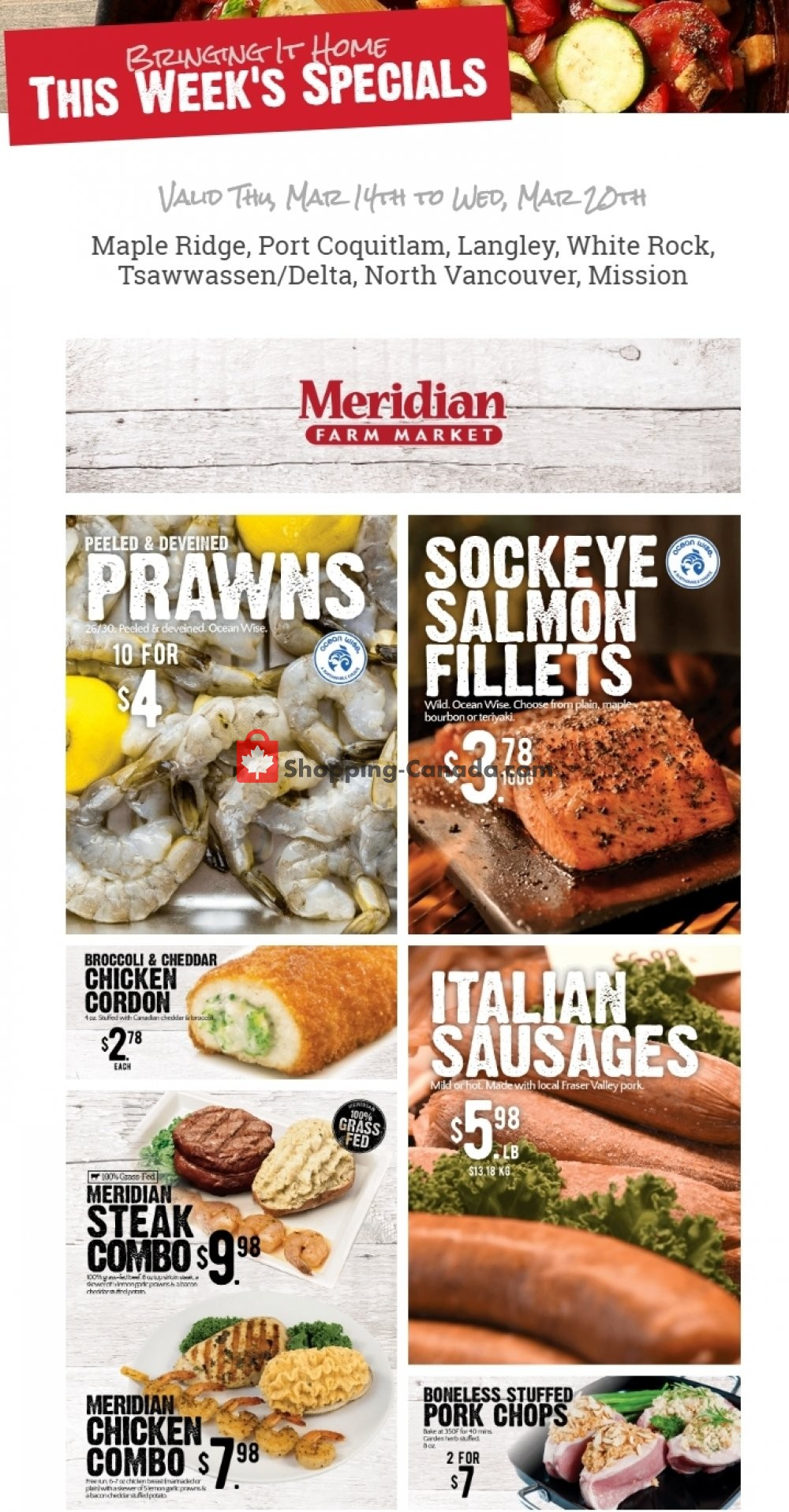 Flyer Meridian Meats & Meridian Farm Market Canada - from Thursday March 14, 2019 to Wednesday March 20, 2019
