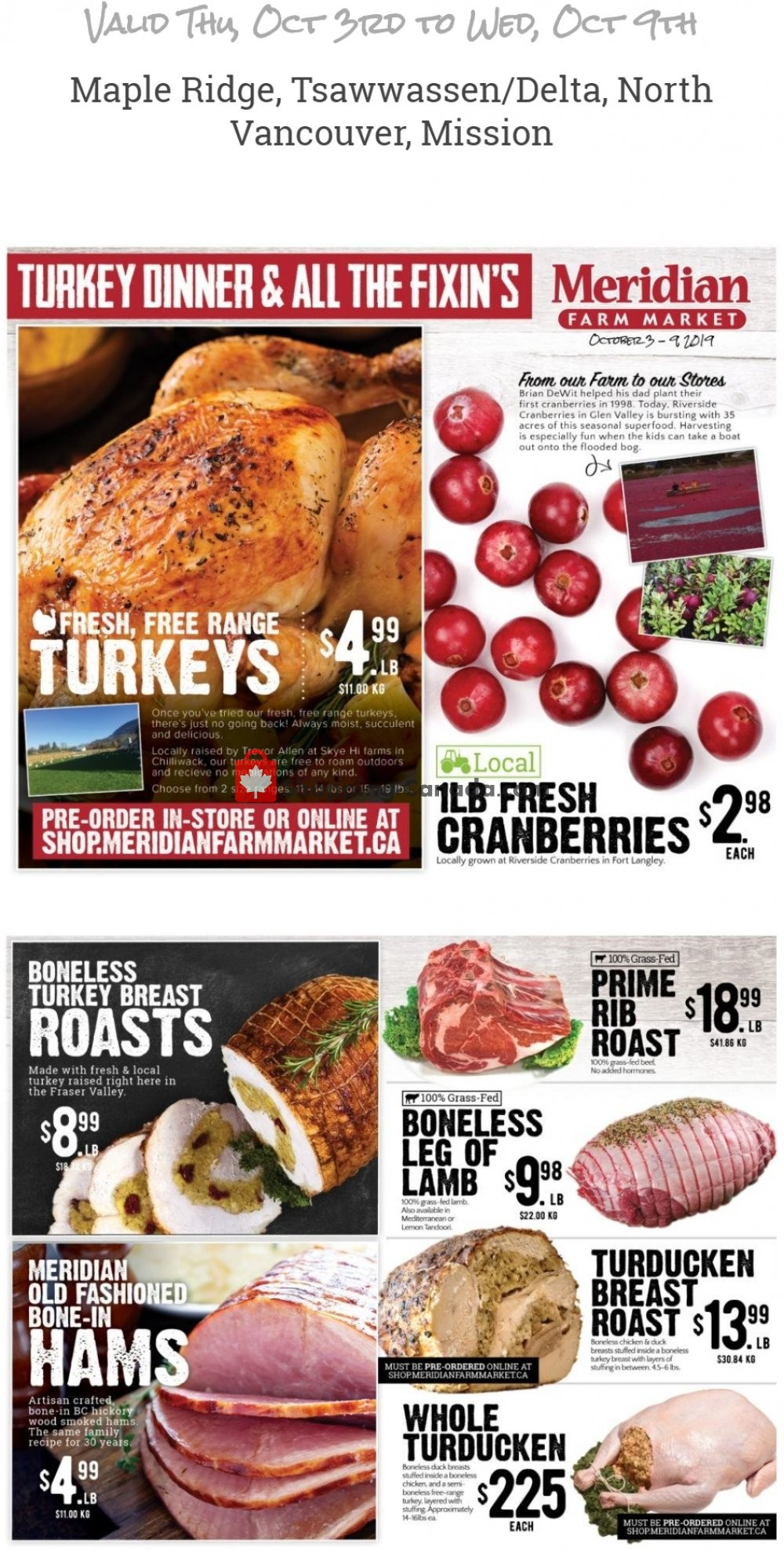 Flyer Meridian Meats & Meridian Farm Market Canada - from Thursday October 3, 2019 to Wednesday October 9, 2019