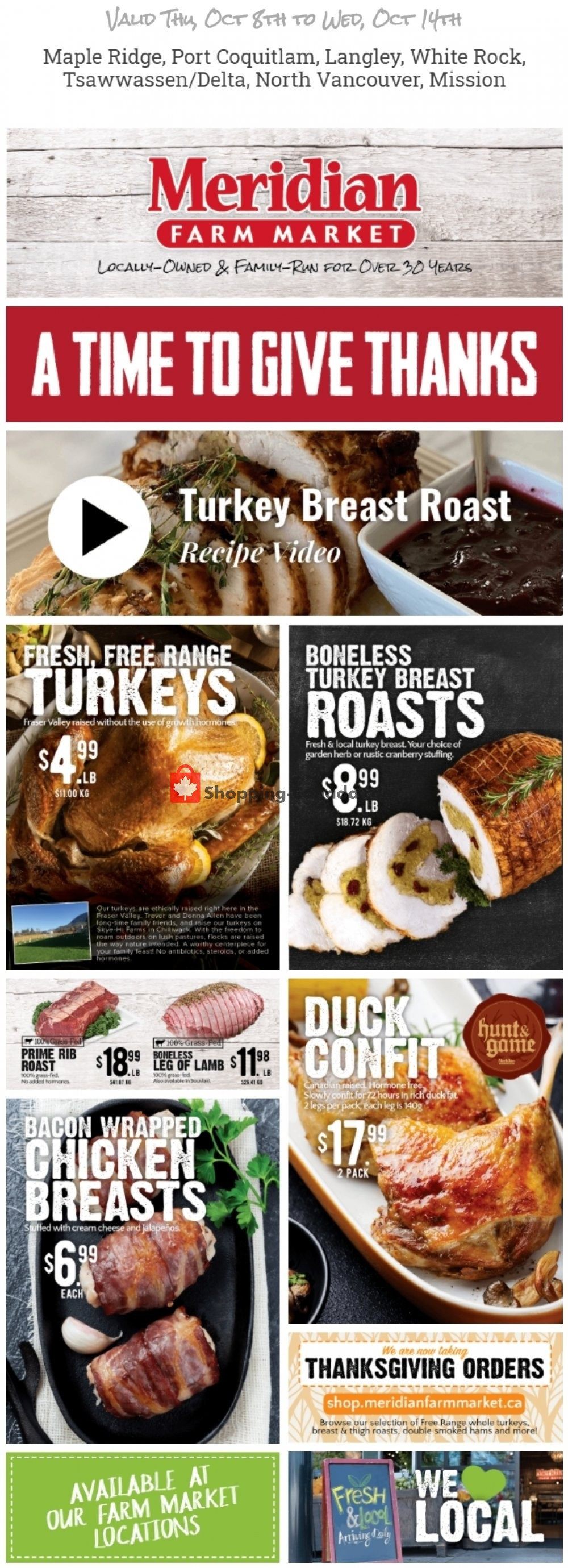 Flyer Meridian Meats & Meridian Farm Market Canada - from Thursday October 8, 2020 to Wednesday October 14, 2020