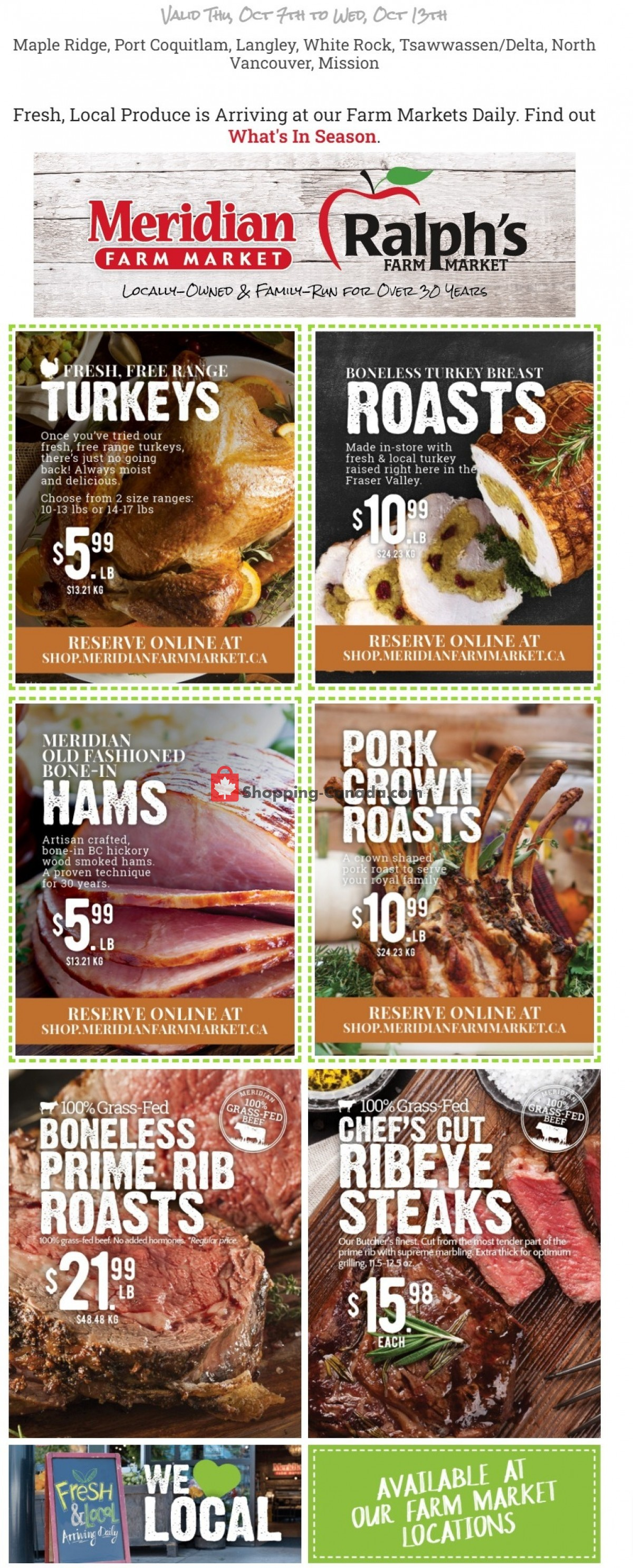 Flyer Meridian Meats & Meridian Farm Market Canada - from Thursday October 7, 2021 to Wednesday October 13, 2021