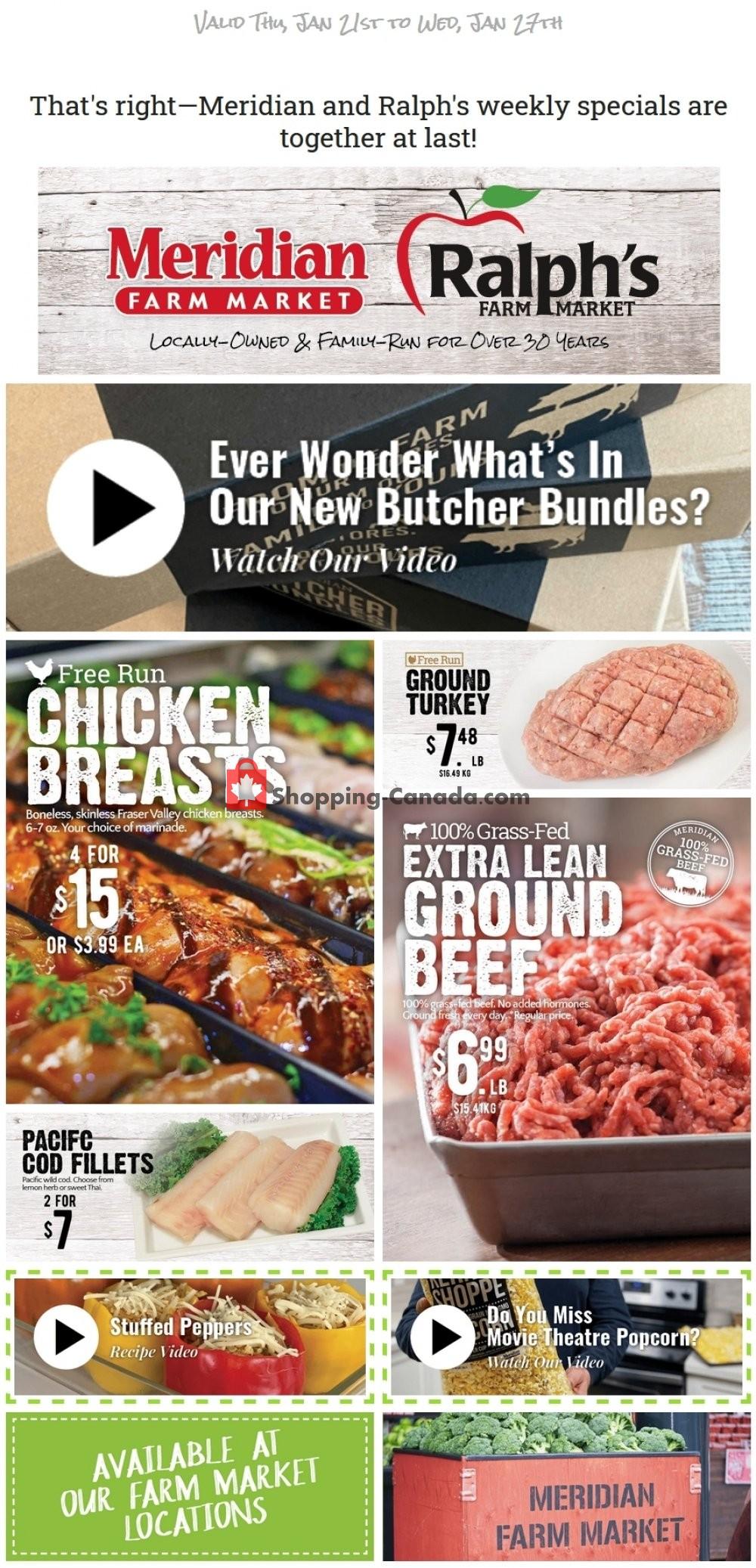 Flyer Meridian Meats & Meridian Farm Market Canada - from Thursday January 21, 2021 to Wednesday January 27, 2021