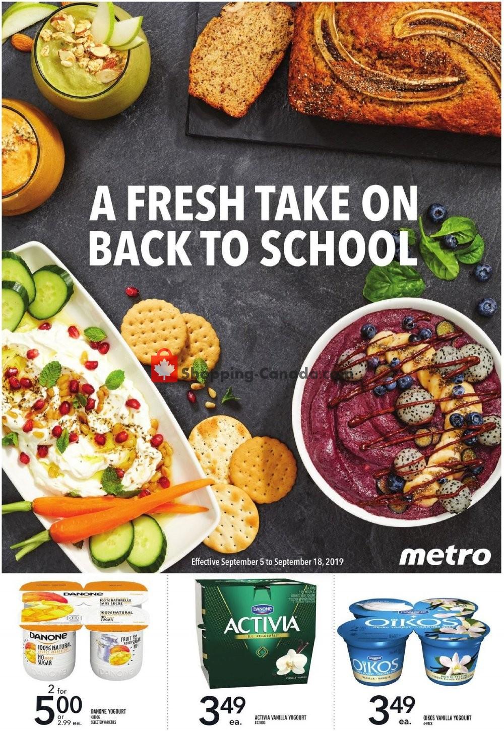 Flyer Metro Canada - from Thursday September 5, 2019 to Wednesday September 18, 2019