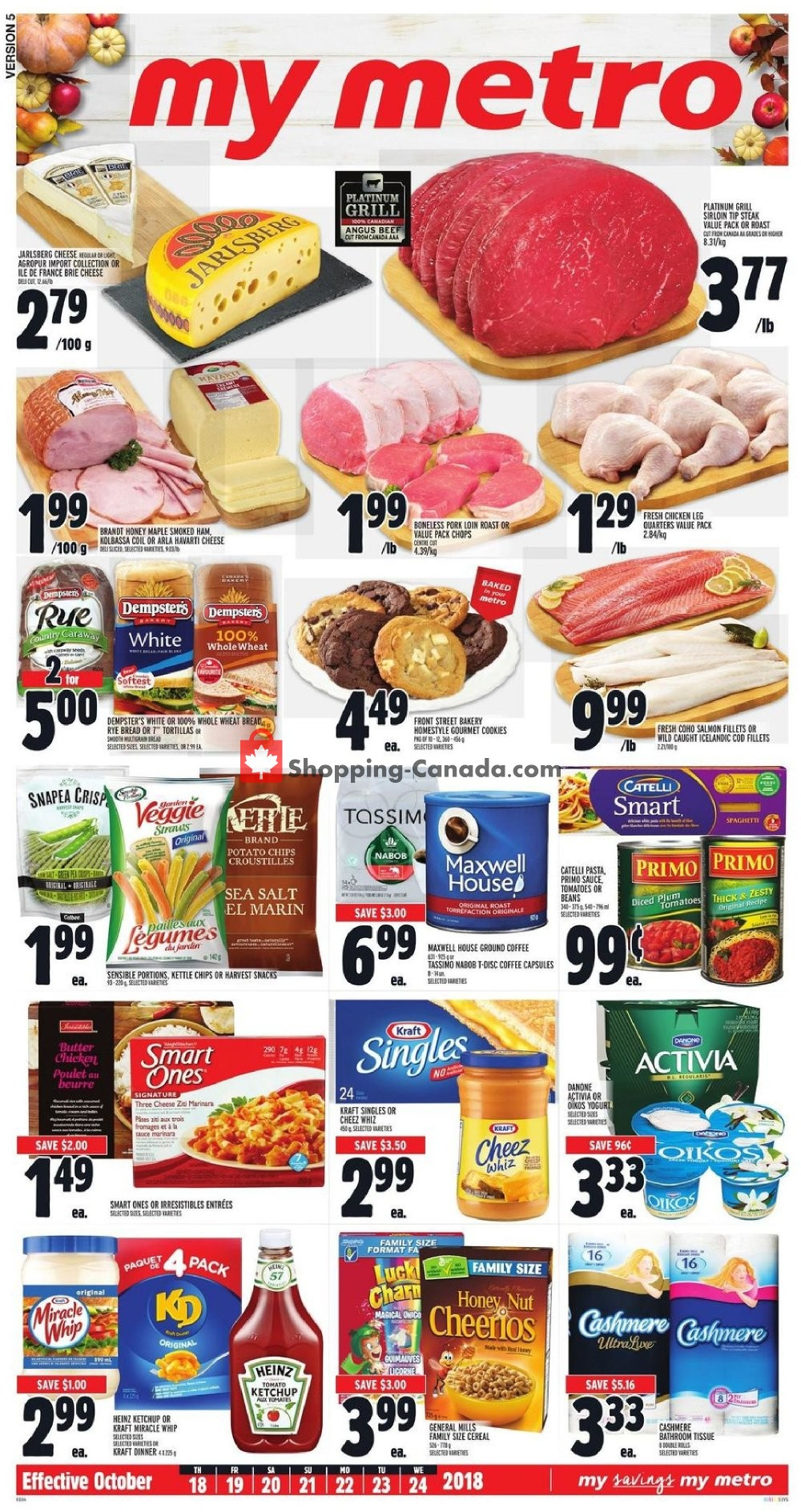 Flyer Metro Canada - from Thursday October 18, 2018 to Wednesday October 24, 2018