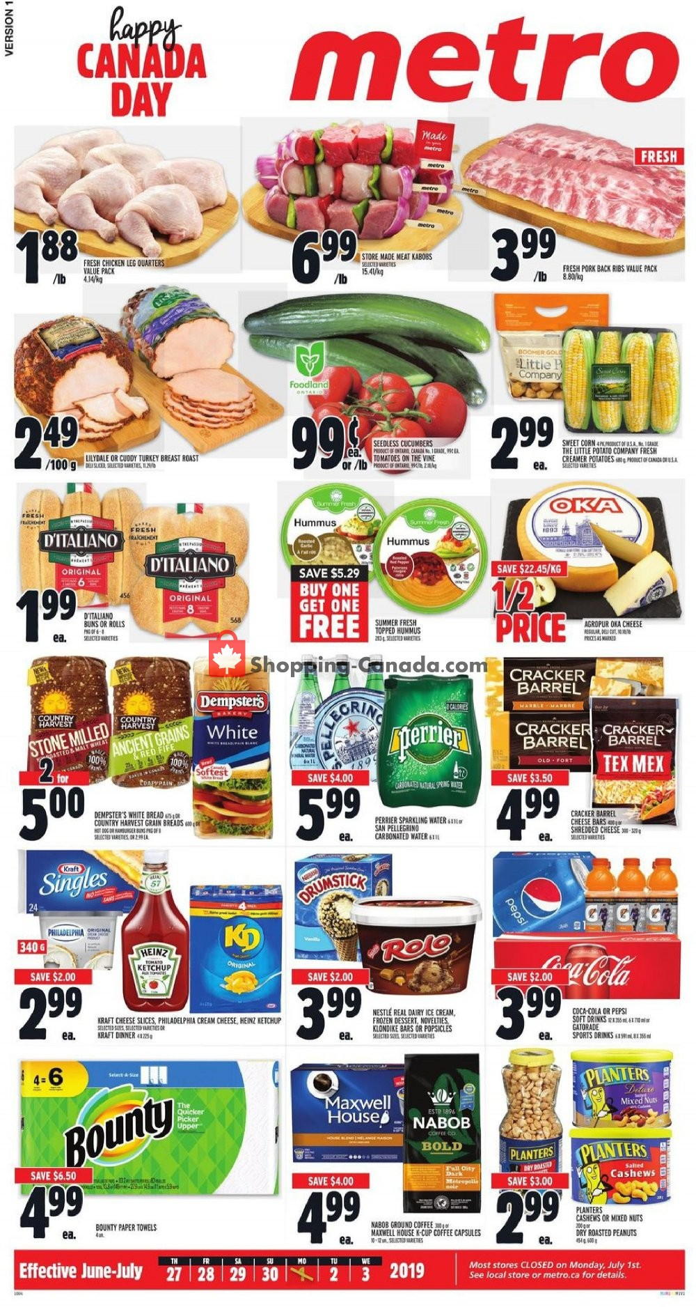 Flyer Metro Canada - from Thursday June 27, 2019 to Wednesday July 3, 2019
