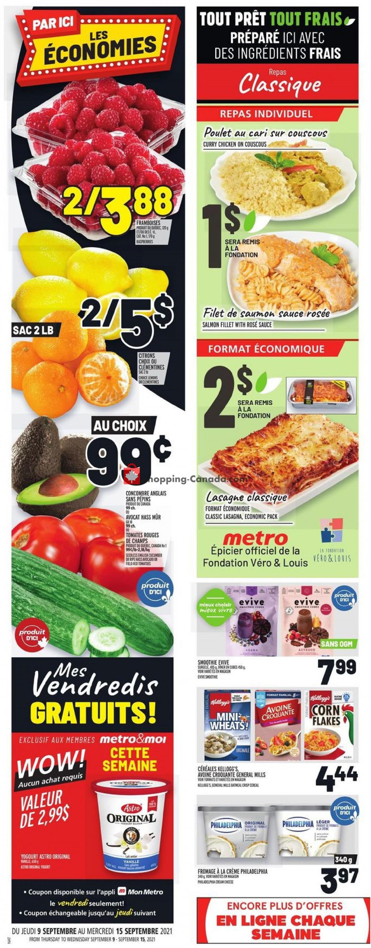 Flyer Metro Canada - from Thursday September 9, 2021 to Wednesday September 15, 2021