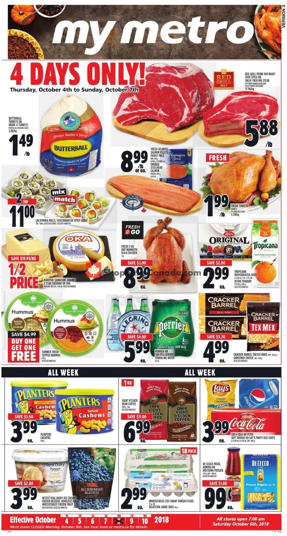 Flyer Metro Canada - from Thursday October 4, 2018 to Wednesday October 10, 2018