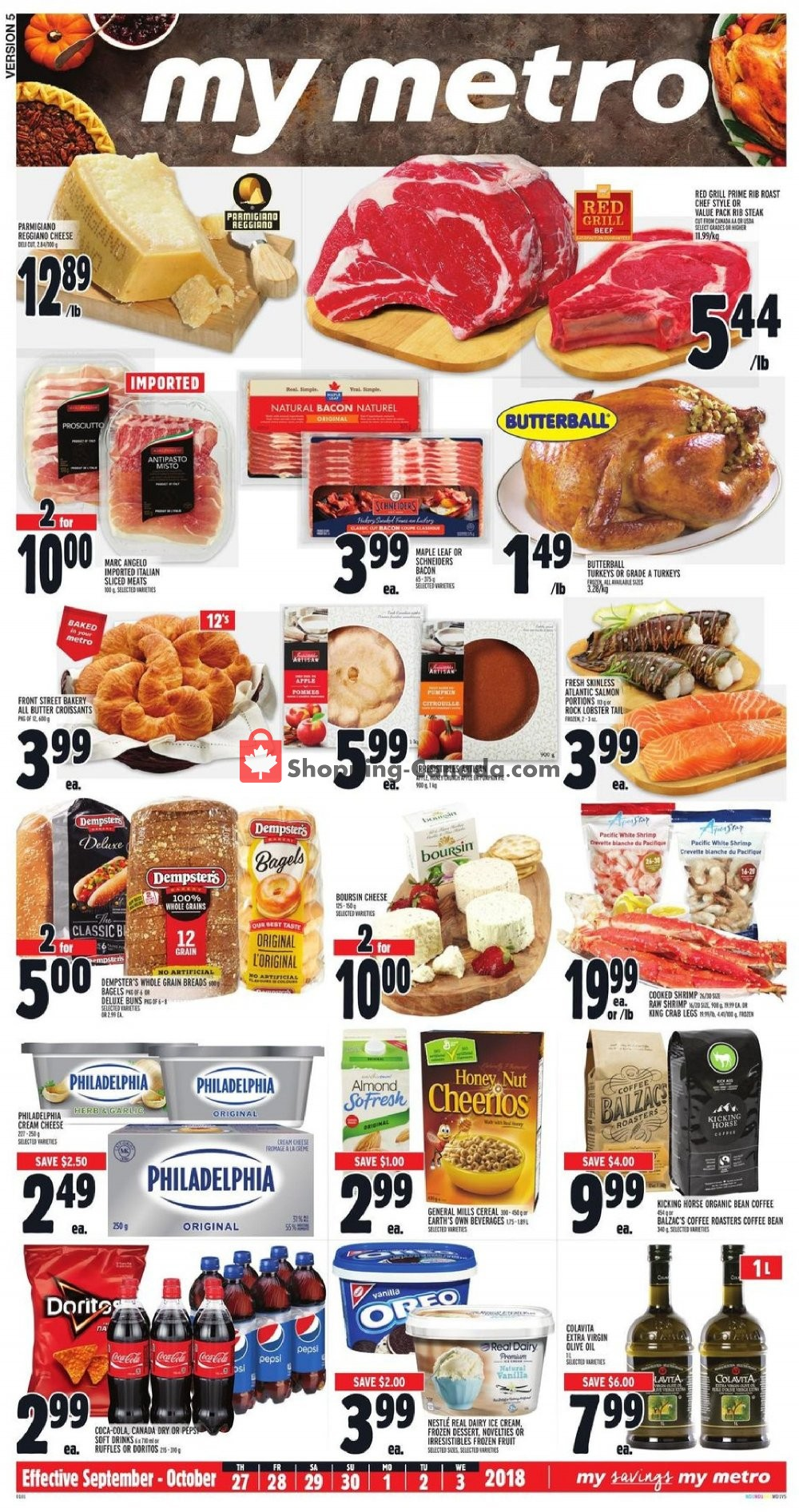 Flyer Metro Canada - from Thursday September 27, 2018 to Wednesday October 3, 2018