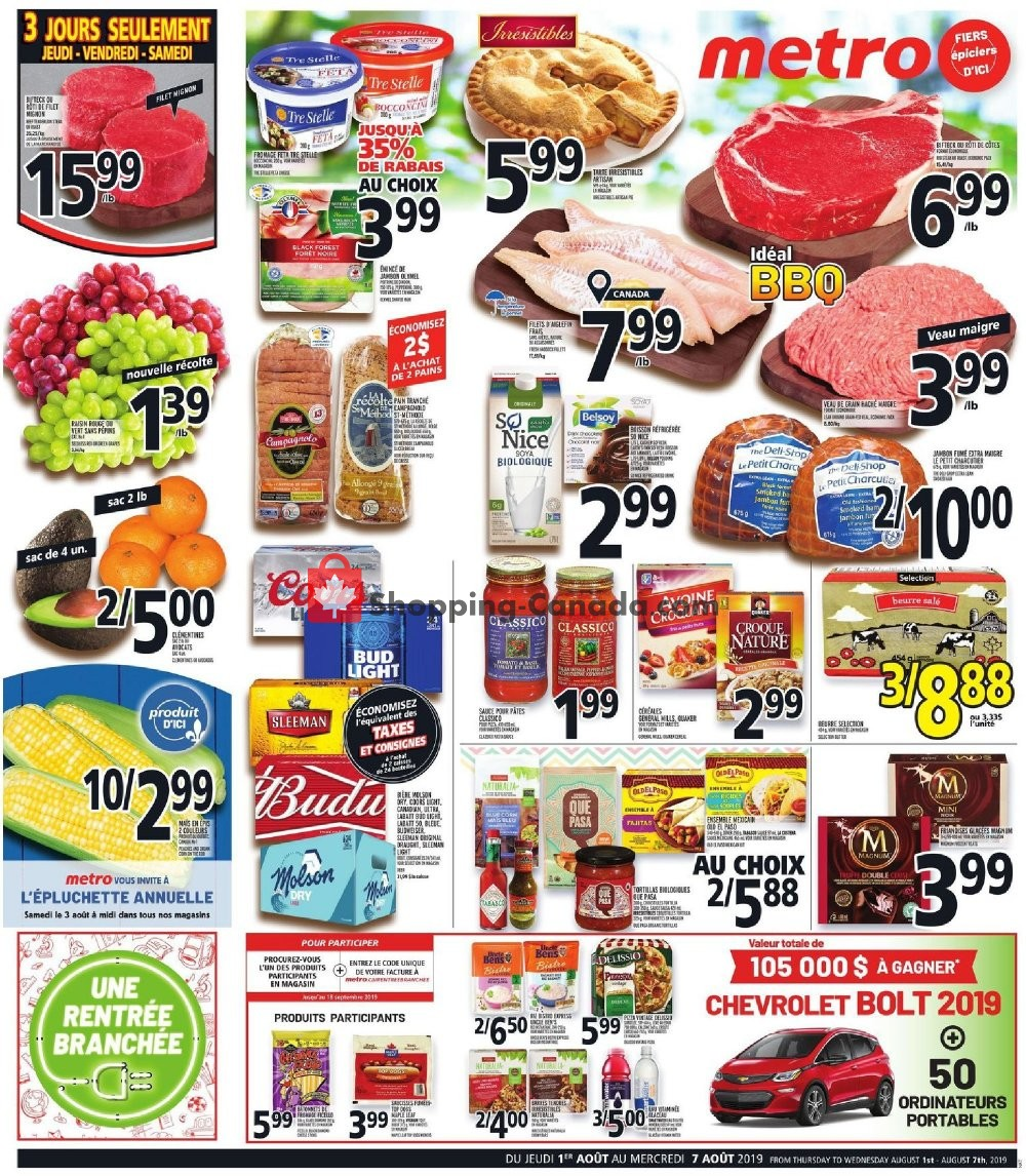 Flyer Metro Canada - from Thursday August 1, 2019 to Wednesday August 7, 2019