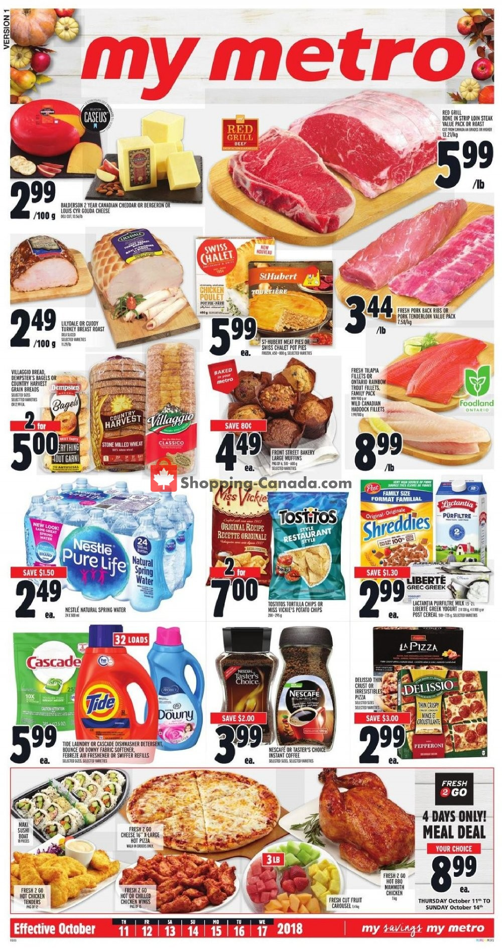 Flyer Metro Canada - from Thursday October 11, 2018 to Wednesday October 17, 2018