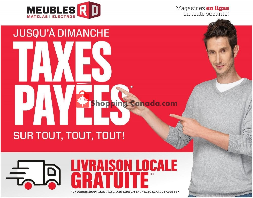 Flyer Meubles RD Canada - from Monday May 25, 2020 to Sunday May 31, 2020