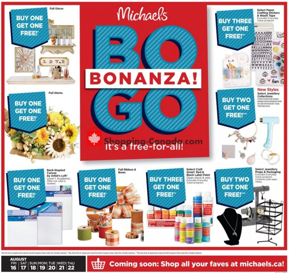 Flyer Michaels Canada - from Friday August 16, 2019 to Thursday August 22, 2019