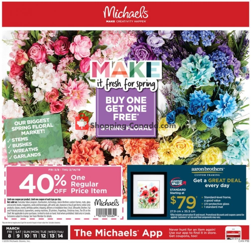 Flyer Michaels Canada - from Friday March 8, 2019 to Thursday March 14, 2019