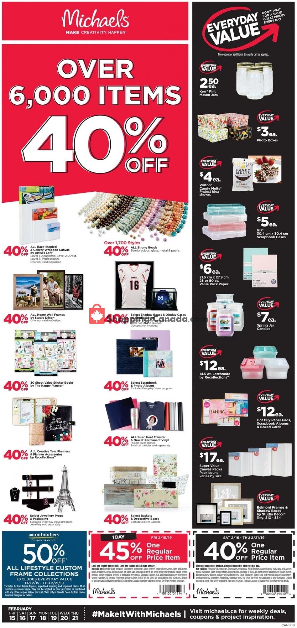Michaels Canada Flyer Everyday Value February 15 February 21 2019 Shopping Canada