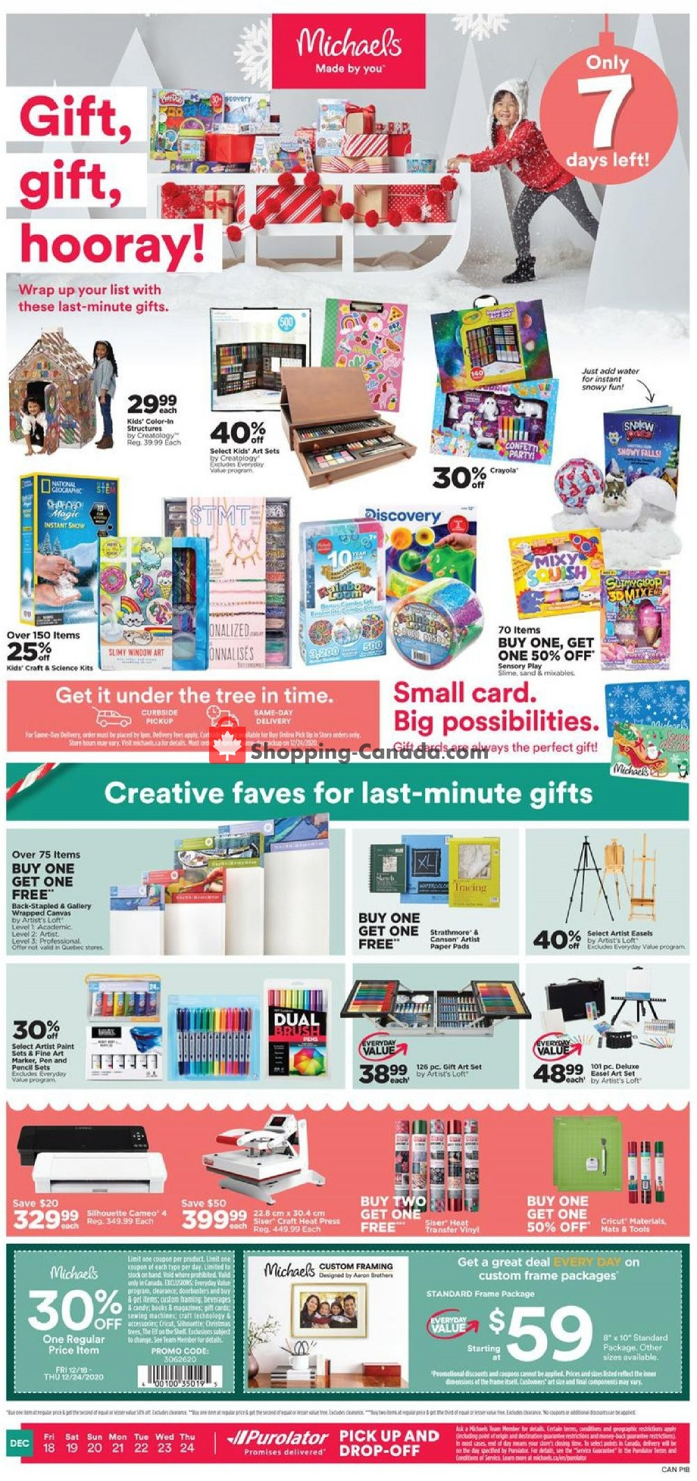 Flyer Michaels Canada - from Friday December 18, 2020 to Thursday December 24, 2020