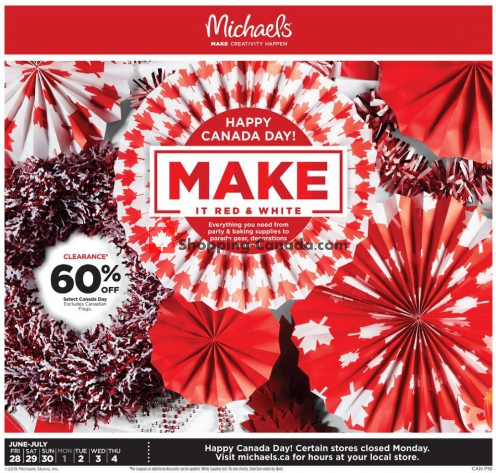 Flyer Michaels Canada - from Friday June 28, 2019 to Thursday July 4, 2019