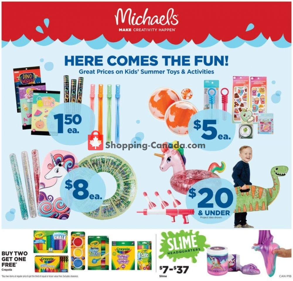 Flyer Michaels Canada - from Friday June 14, 2019 to Thursday June 20, 2019