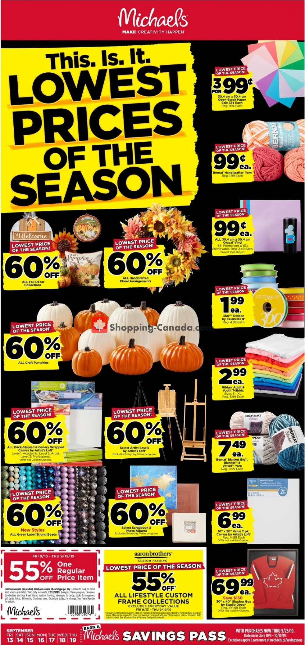 Flyer Michaels Canada - from Friday September 13, 2019 to Thursday September 19, 2019
