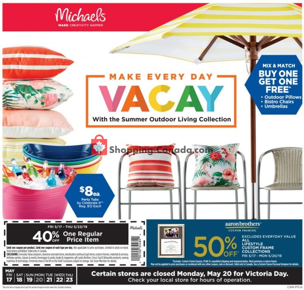 Flyer Michaels Canada - from Friday May 17, 2019 to Thursday May 23, 2019