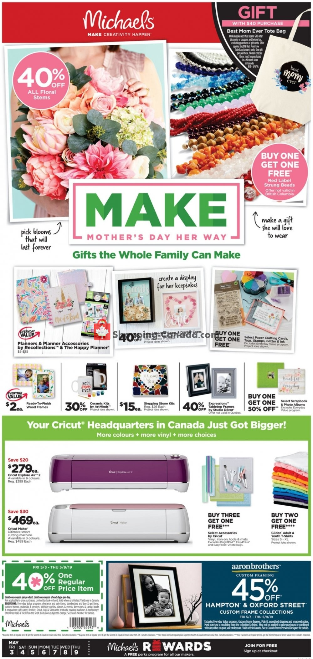 Flyer Michaels Canada - from Friday May 3, 2019 to Thursday May 9, 2019