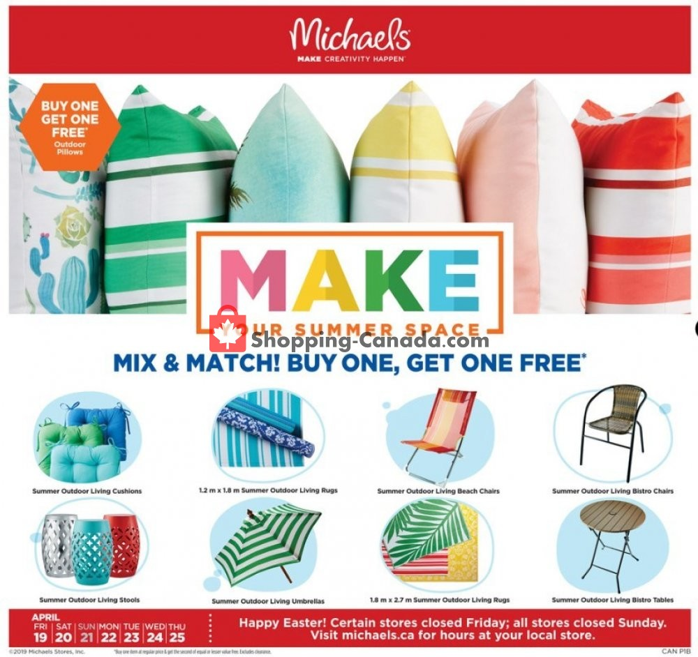 Flyer Michaels Canada - from Friday April 19, 2019 to Thursday April 25, 2019