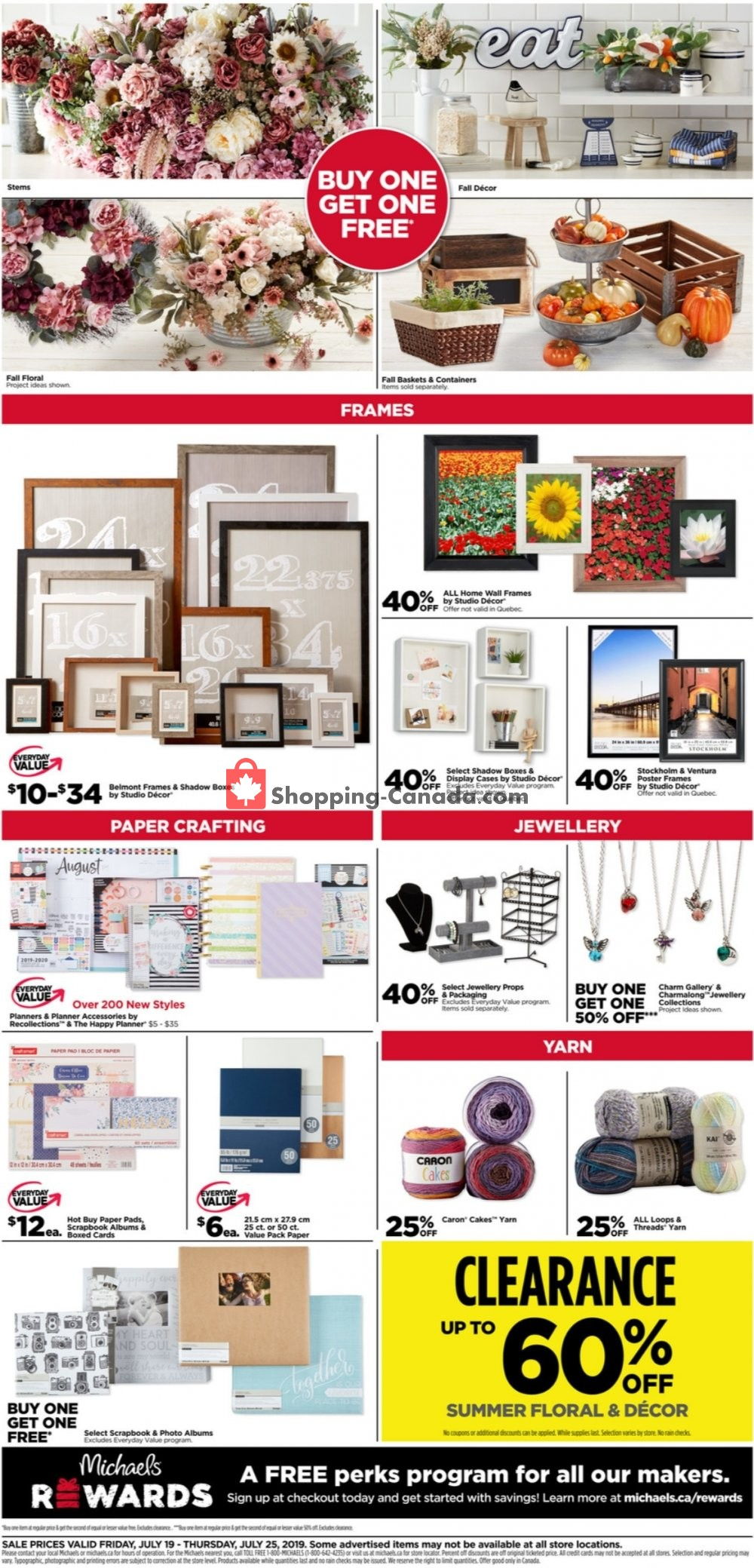 Flyer Michaels Canada - from Friday July 19, 2019 to Thursday July 25, 2019
