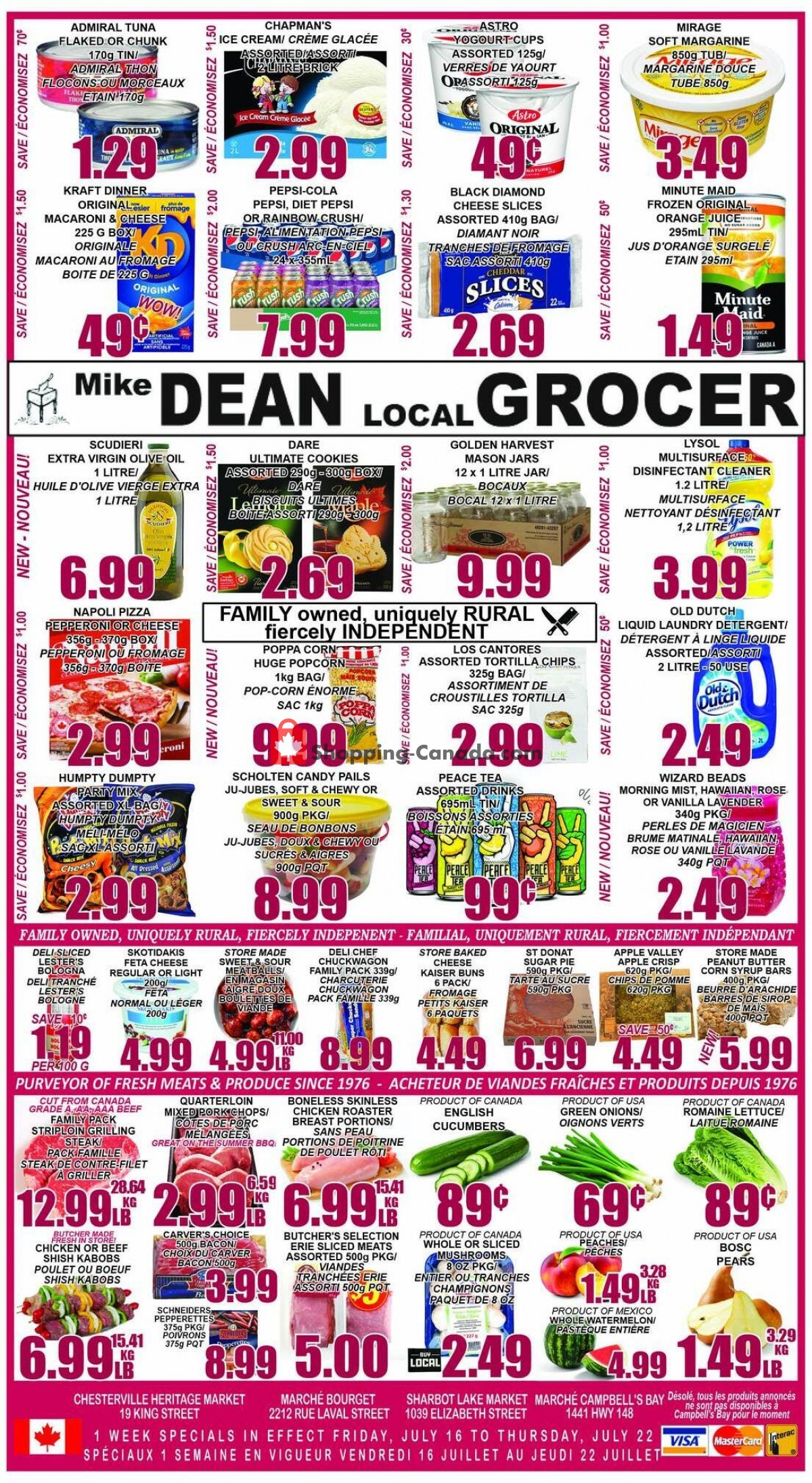 Flyer Mike Dean's Local Grocer Canada - from Friday July 16, 2021 to Thursday July 22, 2021