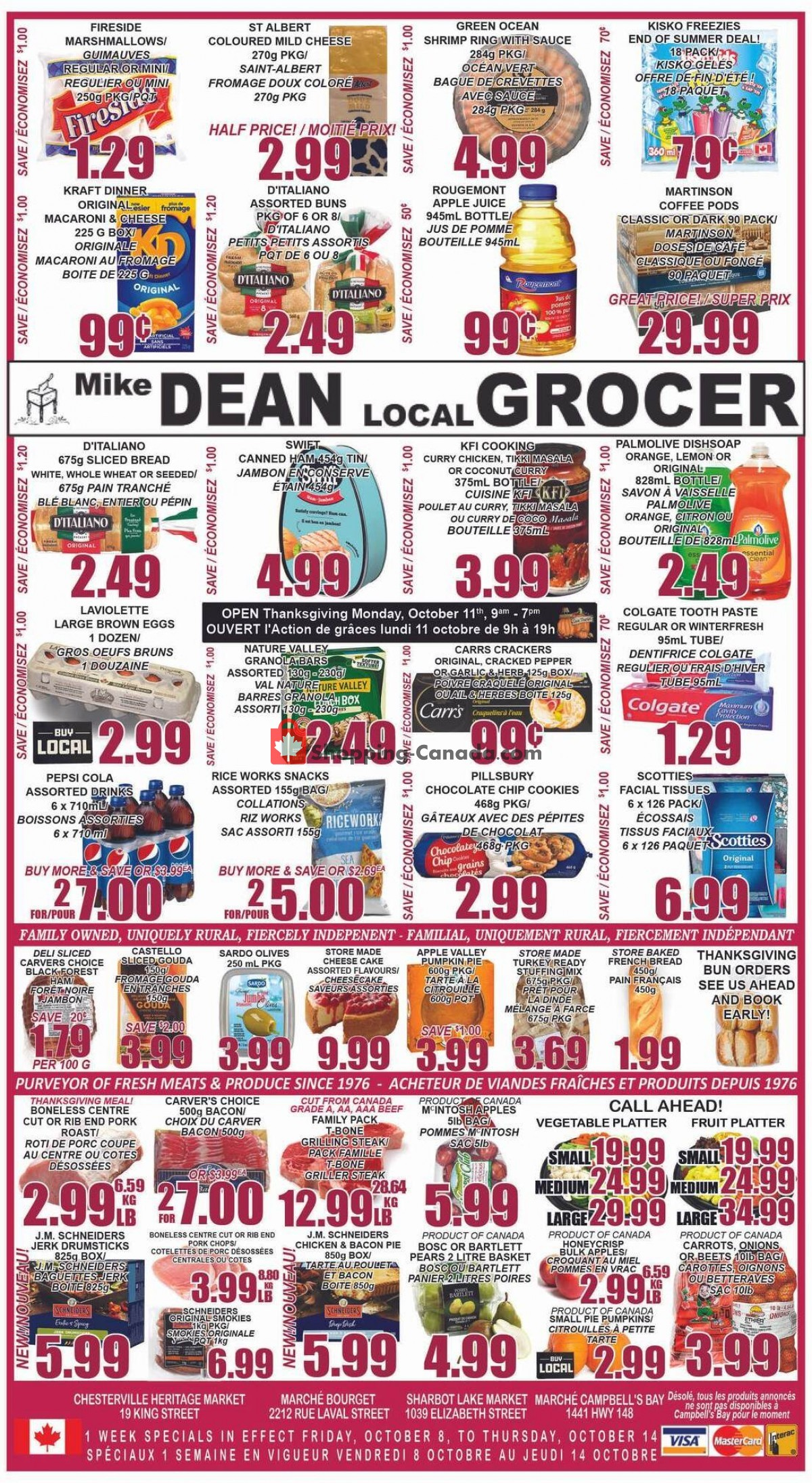 Flyer Mike Dean's Local Grocer Canada - from Friday October 8, 2021 to Thursday October 14, 2021