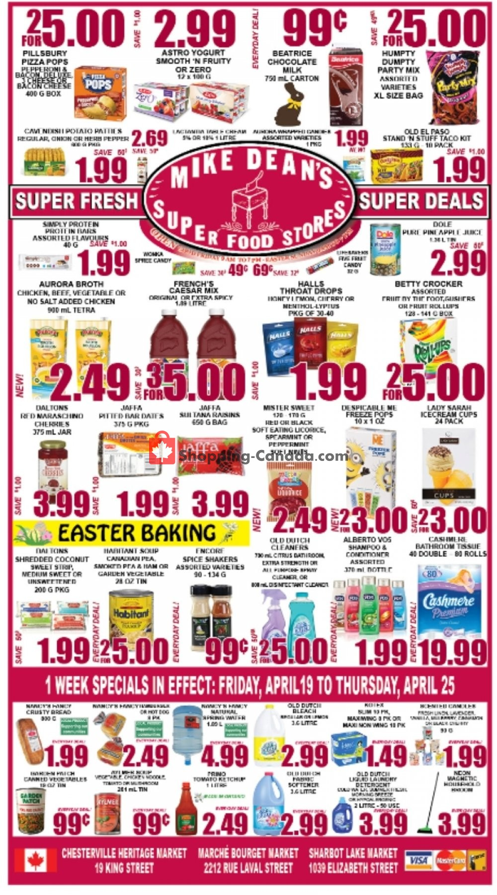 Flyer Mike Dean's Super Food Stores Canada - from Friday April 19, 2019 to Thursday April 25, 2019