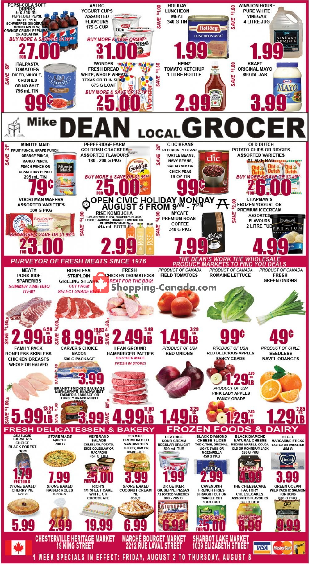 Flyer Mike Dean's Local Grocer Canada - from Friday August 2, 2019 to Thursday August 8, 2019