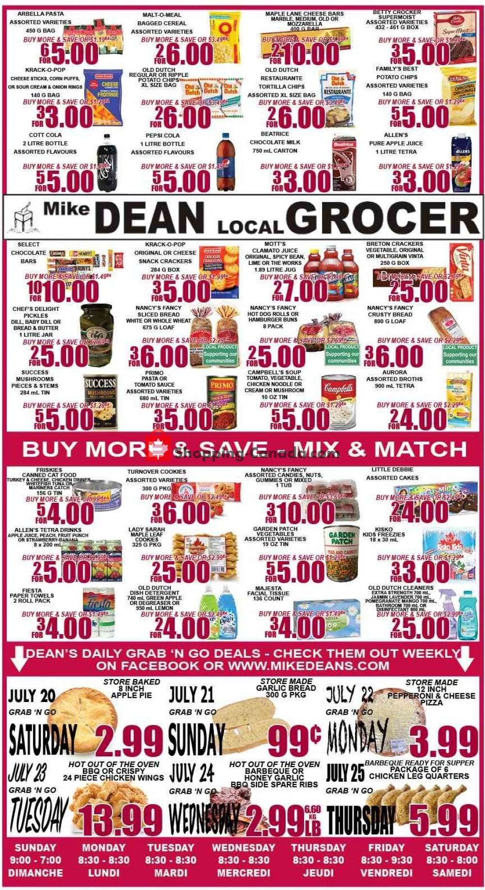 Flyer Mike Dean's Super Food Stores Canada - from Friday July 19, 2019 to Thursday July 25, 2019
