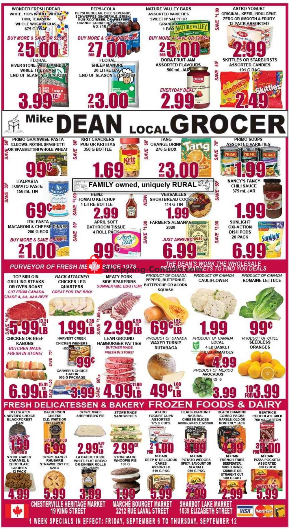 Flyer Mike Dean's Local Grocer Canada - from Friday September 6, 2019 to Thursday September 12, 2019