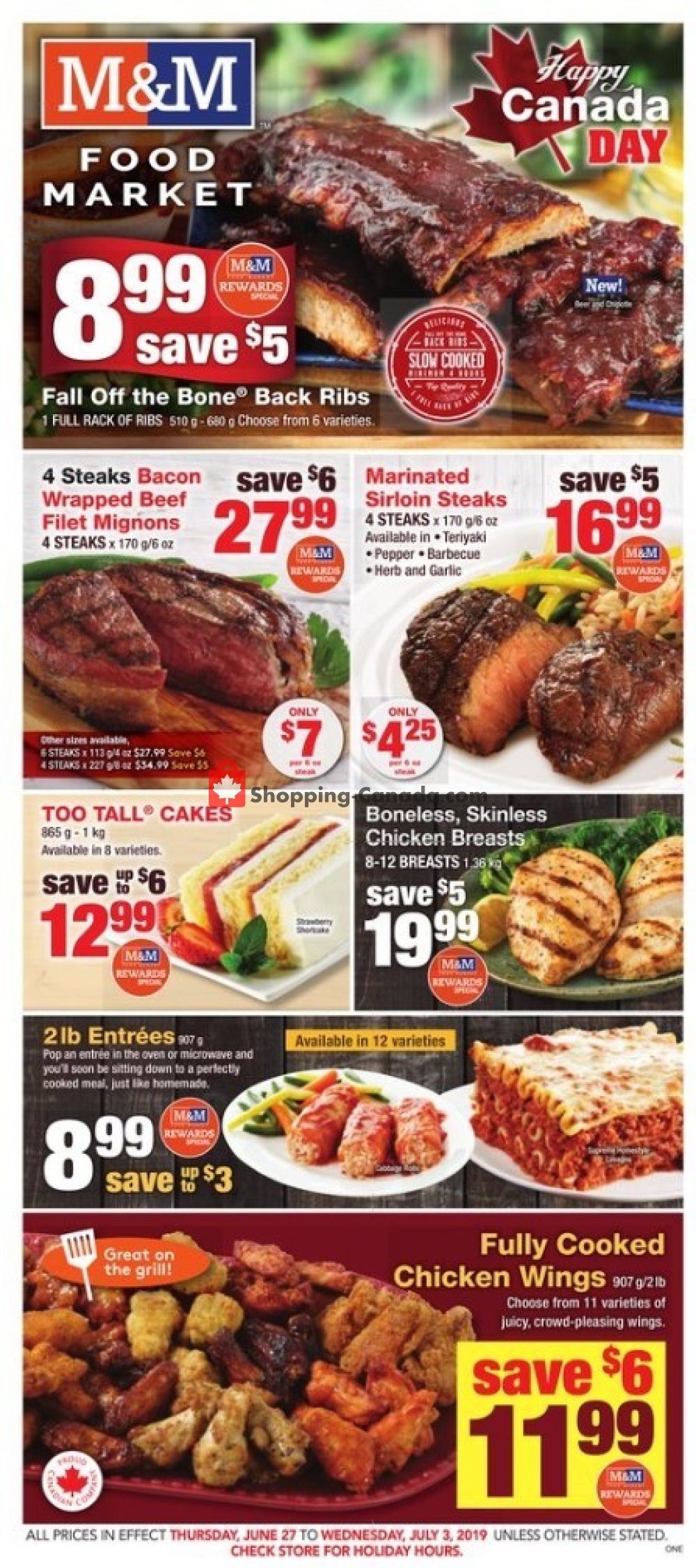 Flyer M&M Food Market Canada - from Thursday June 27, 2019 to Wednesday July 3, 2019