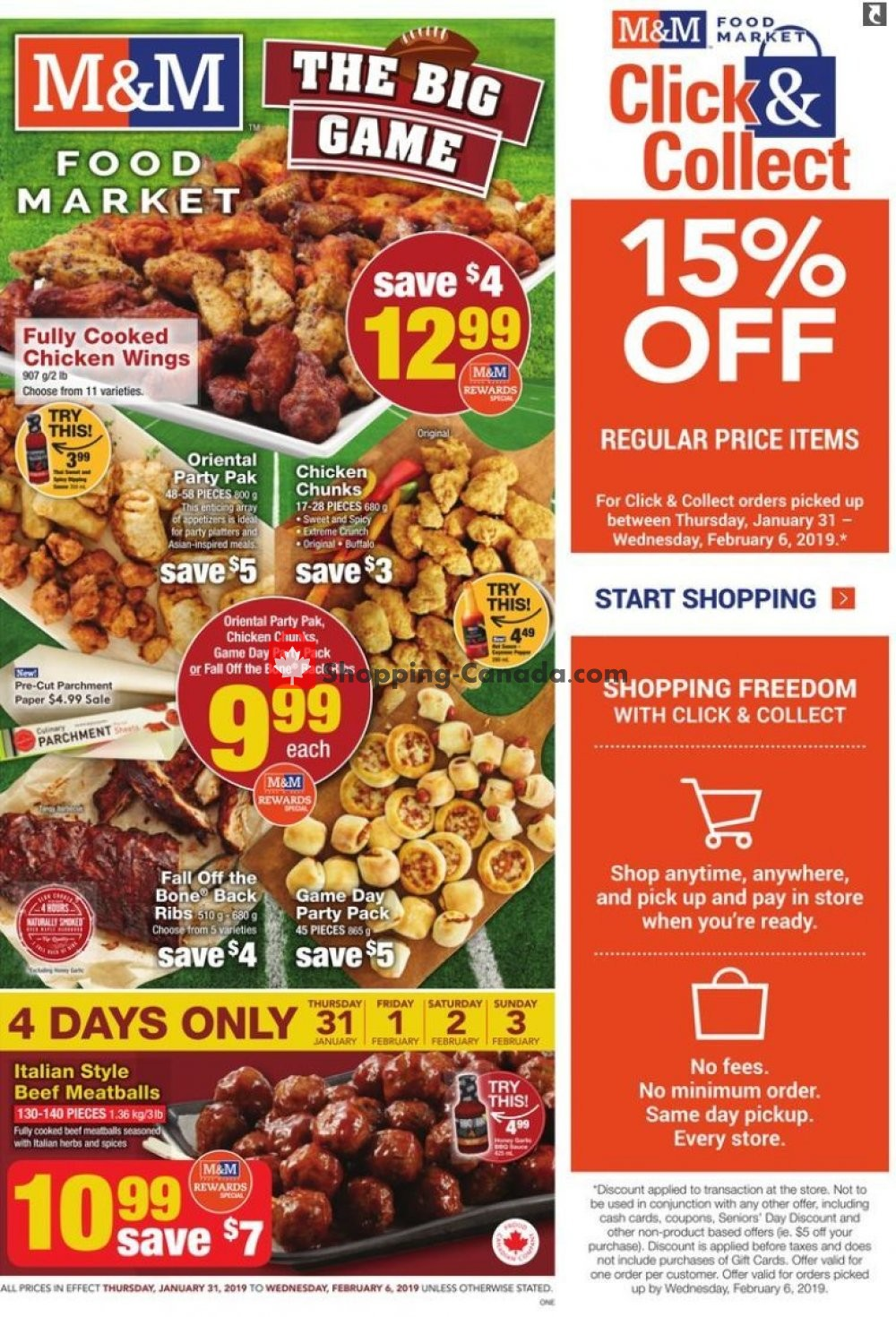 Flyer M&M Food Market Canada - from Thursday January 31, 2019 to Wednesday February 6, 2019